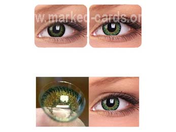 Contact Lenses for Green Eyes, IR or UV Contact Lenses, Marked Cards